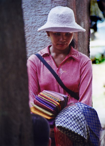 Fabric seller - Siem Reap, Cambodia