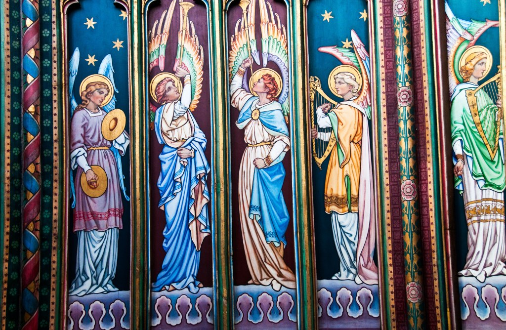 Victorian-era paintings in the cathedral tower.