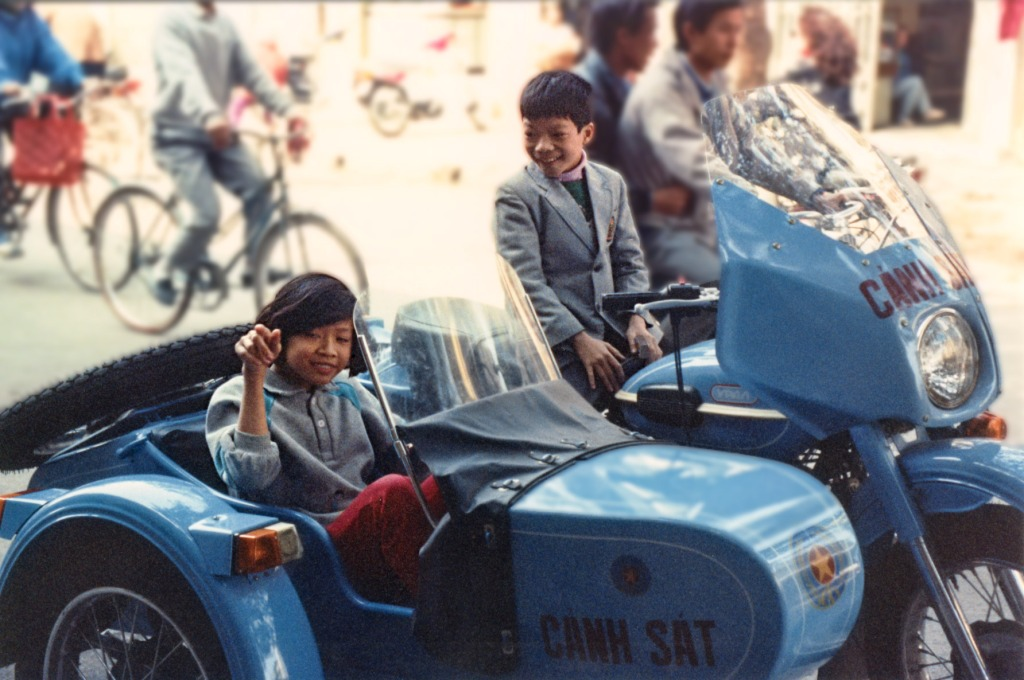 Kid on a Hanoi Police Motorcycle - 1991