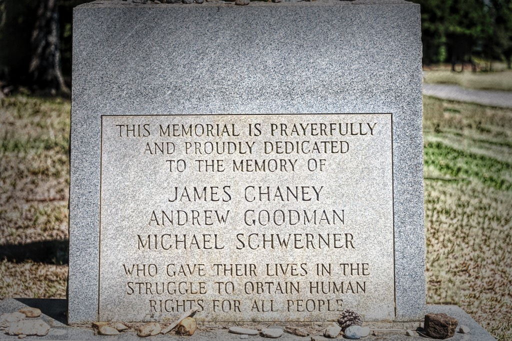 A memorial at Mt. Zion United Methodist Church, near Philadelphia, Mississippi.  Chaney, Goodman and Schwerner were in Mississippi during the summer of 1964 as part of a civil rights campaign to register African-American voters.  They were kidnapped and murdered by local law enforcement officials and members of the Ku Klux Klan.